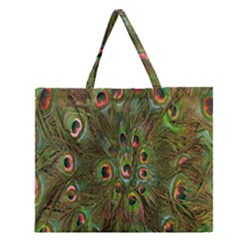 Peacock Feathers Green Background Zipper Large Tote Bag by Simbadda