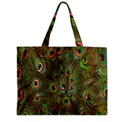 Peacock Feathers Green Background Medium Zipper Tote Bag by Simbadda