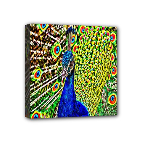 Graphic Painting Of A Peacock Mini Canvas 4  X 4  by Simbadda