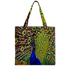 Graphic Painting Of A Peacock Zipper Grocery Tote Bag by Simbadda