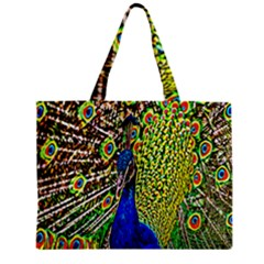 Graphic Painting Of A Peacock Zipper Mini Tote Bag by Simbadda