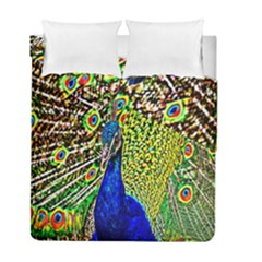 Graphic Painting Of A Peacock Duvet Cover Double Side (full/ Double Size) by Simbadda
