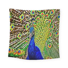 Graphic Painting Of A Peacock Square Tapestry (small) by Simbadda