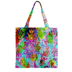 Bright Rainbow Background Zipper Grocery Tote Bag by Simbadda