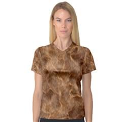Brown Seamless Animal Fur Pattern Women s V Neck Sport Mesh Tee