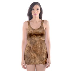 Brown Seamless Animal Fur Pattern Skater Dress Swimsuit by Simbadda