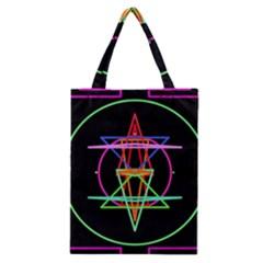 Drawing Of A Color Mandala On Black Classic Tote Bag by Simbadda