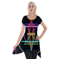 Drawing Of A Color Mandala On Black Short Sleeve Side Drop Tunic