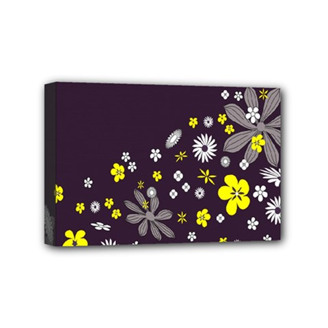 Vintage Retro Floral Flowers Wallpaper Pattern Background Mini Canvas 6  X 4  by Simbadda