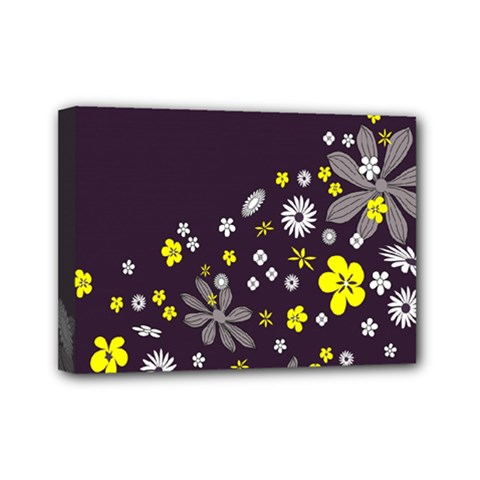 Vintage Retro Floral Flowers Wallpaper Pattern Background Mini Canvas 7  X 5  by Simbadda