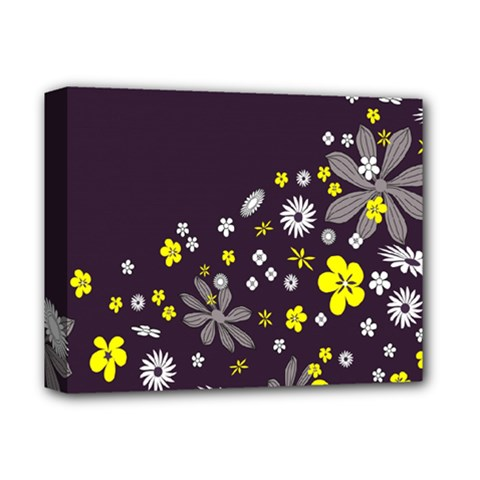 Vintage Retro Floral Flowers Wallpaper Pattern Background Deluxe Canvas 14  X 11  by Simbadda