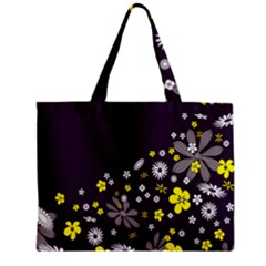 Vintage Retro Floral Flowers Wallpaper Pattern Background Zipper Mini Tote Bag by Simbadda