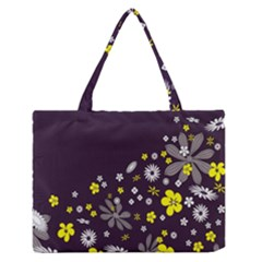 Vintage Retro Floral Flowers Wallpaper Pattern Background Medium Zipper Tote Bag by Simbadda
