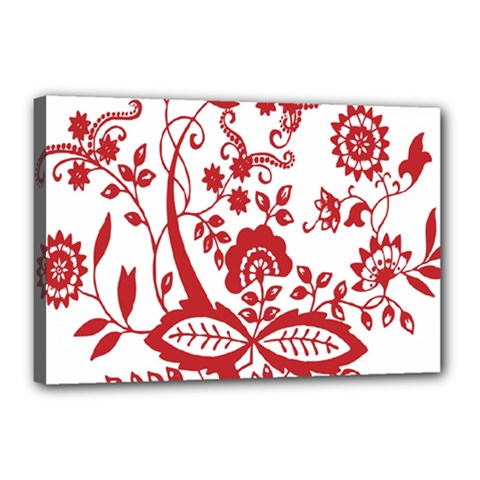 Red Vintage Floral Flowers Decorative Pattern Clipart Canvas 18  X 12  by Simbadda