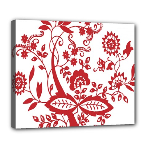 Red Vintage Floral Flowers Decorative Pattern Clipart Deluxe Canvas 24  X 20   by Simbadda