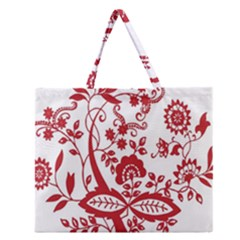 Red Vintage Floral Flowers Decorative Pattern Clipart Zipper Large Tote Bag by Simbadda