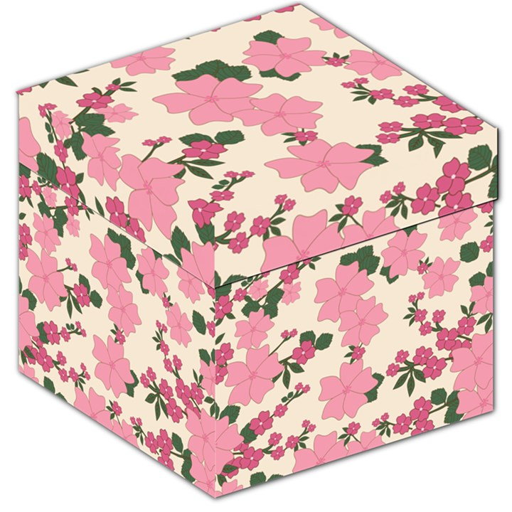 Vintage Floral Wallpaper Background In Shades Of Pink Storage Stool 12