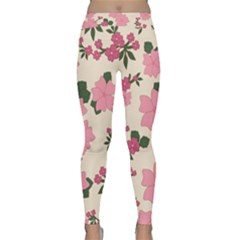 Vintage Floral Wallpaper Background In Shades Of Pink Classic Yoga Leggings by Simbadda