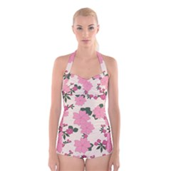 Vintage Floral Wallpaper Background In Shades Of Pink Boyleg Halter Swimsuit  by Simbadda
