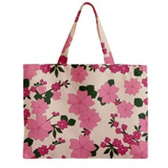 Vintage Floral Wallpaper Background In Shades Of Pink Medium Tote Bag by Simbadda