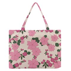 Vintage Floral Wallpaper Background In Shades Of Pink Medium Zipper Tote Bag by Simbadda