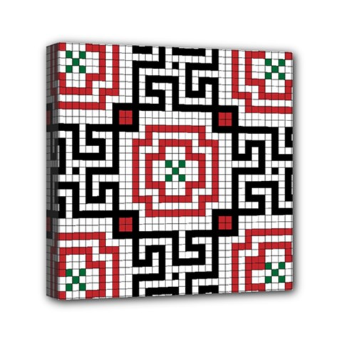 Vintage Style Seamless Black White And Red Tile Pattern Wallpaper Background Mini Canvas 6  X 6  by Simbadda