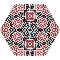 Vintage Style Seamless Black White And Red Tile Pattern Wallpaper Background Mini Folding Umbrellas by Simbadda