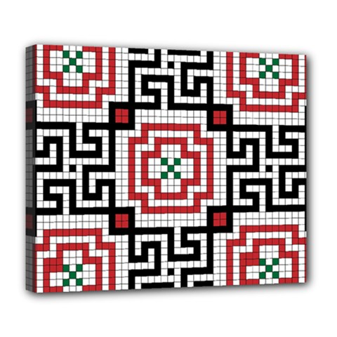 Vintage Style Seamless Black White And Red Tile Pattern Wallpaper Background Deluxe Canvas 24  X 20   by Simbadda