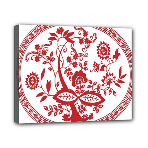Red Vintage Floral Flowers Decorative Pattern Canvas 10  X 8  by Simbadda