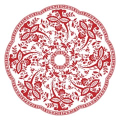 Red Vintage Floral Flowers Decorative Pattern Straight Umbrellas by Simbadda