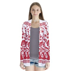 Red Vintage Floral Flowers Decorative Pattern Cardigans by Simbadda