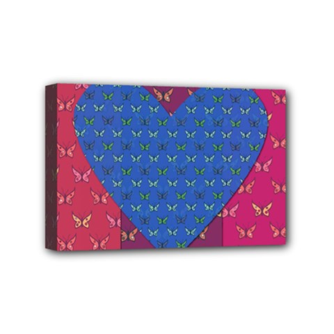 Butterfly Heart Pattern Mini Canvas 6  X 4  by Simbadda