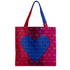Butterfly Heart Pattern Zipper Grocery Tote Bag by Simbadda
