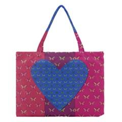 Butterfly Heart Pattern Medium Tote Bag by Simbadda