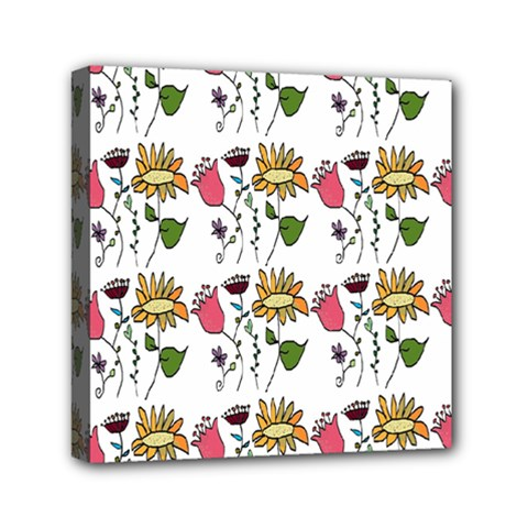 Handmade Pattern With Crazy Flowers Mini Canvas 6  X 6  by Simbadda