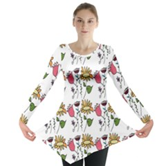 Handmade Pattern With Crazy Flowers Long Sleeve Tunic