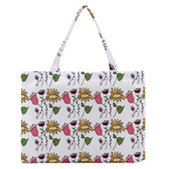 Handmade Pattern With Crazy Flowers Medium Zipper Tote Bag by Simbadda