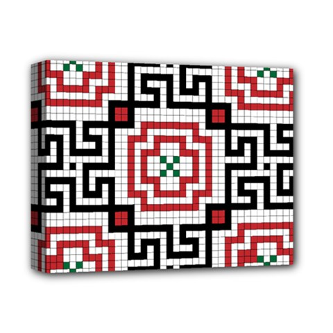 Vintage Style Seamless Black, White And Red Tile Pattern Wallpaper Background Deluxe Canvas 14  X 11  by Simbadda