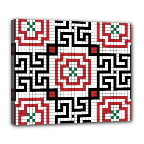 Vintage Style Seamless Black, White And Red Tile Pattern Wallpaper Background Deluxe Canvas 24  X 20   by Simbadda