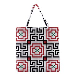 Vintage Style Seamless Black, White And Red Tile Pattern Wallpaper Background Grocery Tote Bag by Simbadda