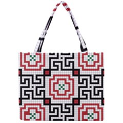 Vintage Style Seamless Black, White And Red Tile Pattern Wallpaper Background Mini Tote Bag by Simbadda