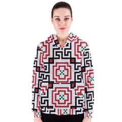 Vintage Style Seamless Black, White And Red Tile Pattern Wallpaper Background Women s Zipper Hoodie