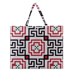 Vintage Style Seamless Black, White And Red Tile Pattern Wallpaper Background Zipper Large Tote Bag by Simbadda