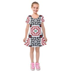 Vintage Style Seamless Black, White And Red Tile Pattern Wallpaper Background Kids  Short Sleeve Velvet Dress by Simbadda