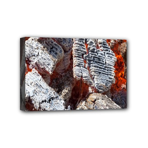 Wooden Hot Ashes Pattern Mini Canvas 6  X 4  by Simbadda
