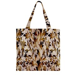 Floral Vintage Pattern Background Zipper Grocery Tote Bag by Simbadda