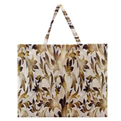 Floral Vintage Pattern Background Zipper Large Tote Bag by Simbadda