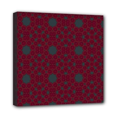 Blue Hot Pink Pattern With Woody Circles Mini Canvas 8  X 8  by Simbadda
