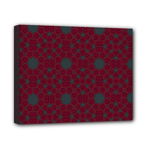 Blue Hot Pink Pattern With Woody Circles Canvas 10  X 8  by Simbadda