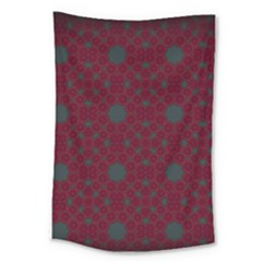 Blue Hot Pink Pattern With Woody Circles Large Tapestry